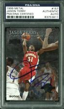 Hawks Jason Terry Authentic Signed Card 1999 Metal RC #157 PSA/DNA Slabbed