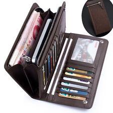 Men's Leather ID Card Holder Zip Wallet Purse Clutch Checkbook Billfold