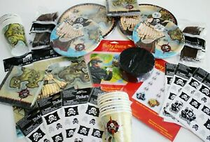 Party LOT Birthday Paper Plates Cups Napkins Cutlery Pirates Treasure Map
