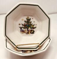 Lot of 2 Nikko Christmastime Salad Soup Bowls Japan Christmas Tree Octagon