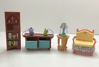 Vintage Fisher Price Loving Family Dollhouse Living Room Furniture Bookcase Lamp
