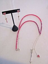 SWAROVSKI Signed Goldtone Polly Red Crystal Arrow & Heart Necklace & Earring