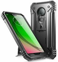 Moto G7 Power,Poetic® [Dual Layer] Shockproof Hard Shell Case Cover Black