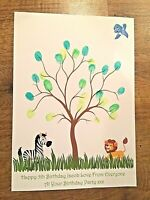 Personalised 1st - 5th Birthday Gift Keepsake Guest Book Fingerprint Tree/ink