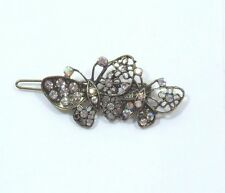 Bejeweled Butterfly Hair barrette antiqued Gold tone