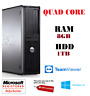 DELL QUAD CORE PC FAST COMPUTER DESKTOP TOWER WINDOWS 10 WIFI 8GB 1000GB DVDRW