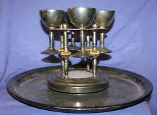 Vintage silver plated set 4 goblets, holder and large tray