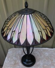 SIGNED QUOIZEL TIFFANY STYLE ALHAMBRA STAINED GLASS ARTS CRAFTS MISSION LAMP