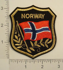 NORWAY FLAG Shield Embroidered Travel Souvenir PATCH