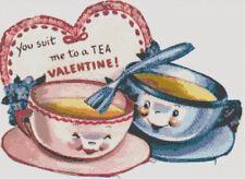 Suit Me to a TEA Retro Vintage Valentine 1950's DIGITAL Cross-Stitch Pattern
