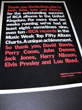 DAVID BOWIE Perry Como JOHN DENVER Nilsson '73 PROMO AD