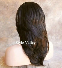 Medium Brown Straight  3/4 Fall Layered Hairpiece Wavy Ends Half Wig Hair Piece
