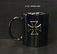 MUG - CERAMIC COFFEE CUP - 12oz  - PEWTER EMBLEM BLACK CROSS - NEW**