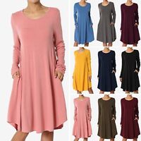 TheMogan S~3XL Basic Jersey Knit Long Sleeve Trapeze Pocket Loose T-Shirt Dress