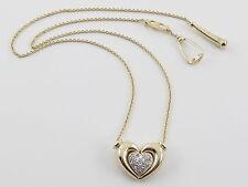 "14k Yellow Gold Diamond Heart Pendant Necklace 16"" 0.30 carat"