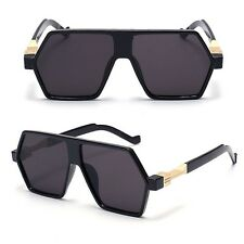 Flat Top Aviator Gold Metal Bar Black Men Grand Designer Fashion Sunglasses