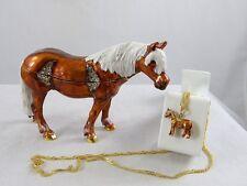 Enameled Pewter Bejeweled Trinket Box with Tiny Necklace -Horse