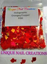 Solvent Resistant FISH Shape~Holo Copper/Orange~ Nail Art/Acrylic/Gel/~ USA