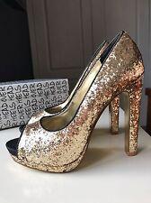Dune London Head Over Heels Gold Glitter High Heel Sandal Court Shoe Size 4 37