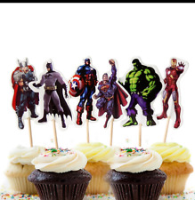 24 x Super Hero Avengers Character toppers Cupcake Cup Cake Topper cartoon
