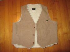 True VTG Wrangler Brown Cord Fleece Lined Vest 70's Size XL