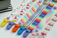 Rainbow Dummy Clips for Girls Soother Pacifier Clip Dummy Saver, add MAM adapter
