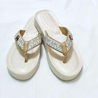 New Women MICHAEL Michael Kors Gage Platform Flip Flops White Slide Sandals 9