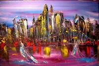 NEW YORK CITY ABSTRACT  Original Oil Painting canvas IMPRESSIONIST   KAZAV G7P