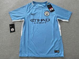 New Nike Manchester City Kids Large Jersey 2017/18 Blue ManCity L Boys Youth Kit