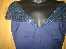 JS Collection Navy Blue Bodycon Dress Beaded Off Shoulder Neckline size10-12