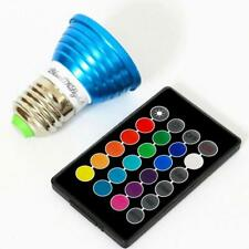 E27 3W RGB Multicolour LED Bulb w/ Remote Control Dimmable 16 Colours AC 85-265V
