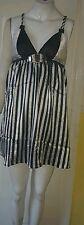 Women/ladies short mini black and white sleveless striped dress, size medium