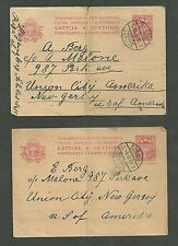 3 Latvia Postcards Sent to New Jersey and Brooklyn New York 1932 1933 1935