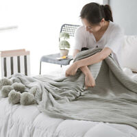 Comfortable Knitted Cotton Air Conditioning Blanket Kids Baby Double-faced Throw