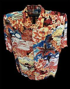 Jams World Hawaiian Tropical Surf Print Shirt Size XL