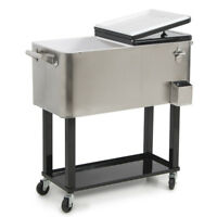 80qt Patio Portable Rolling Cooler Cart Stainless Steel Outdoor Ice Beer Chest