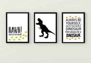 Dinosaur quote prints set of 3 bedroom games room accessories T Rex kids gift