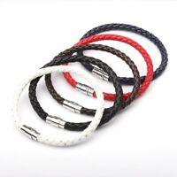 Fashion Braided Weave Leather Steel Magnetic Clasp Women Men Bracelet Jewelry