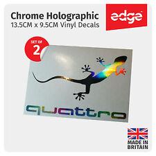 2X Audi Quattro Gecko Chrome Hologramme Vinyle Voiture Décalcomanies Autocollants Quattro
