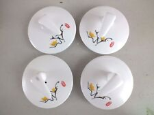 4 JAPANESE YELLOW FLOWER RED PEACE WHITE TEAPOT 7cm LID COVER CHINESE PARTY CC