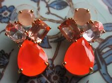 KATE SPADE Colorful Stone Baubles Drop Gold-Plated Chandelier Earrings coral