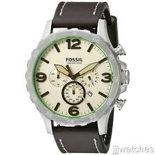New Fossil Nate Chrono Brown Leather Oversize Men 24Hours Watch 50mm JR1496 $125