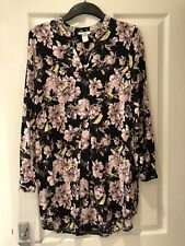 ⭐️ H&M Black/Pink Oversized Floral Tunic Mini Shirt Dress - Size 34/6/8/10/S ⭐️