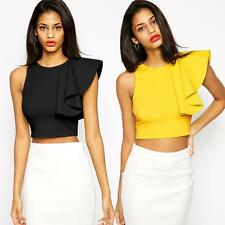 Women Solid Color Crop Tops O-Neck Sleeveless T-Shirt One-shoulder Ruffle Tops