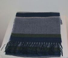 NWT OLD NAVY MEN NAVY MULTI PLAID FRINGE FLANNEL SCARF ONE SIZE