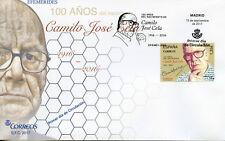 SPAIN 2017 FDC Camilo J Cela centenario nacimiento 1 V Cubierta escritores de la literatura sellos