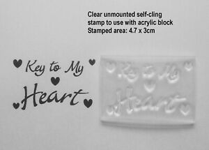 Key to my Heart, Clear Rubber Stamp for Valentines Crafts, Cards and Tags