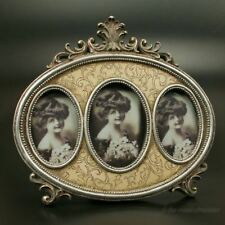 Bilderrahmen Fotorahmen 3 Fotos Bilder Rahmen Oval silber Deko Holz Antik Barock