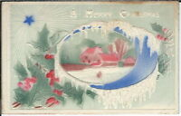 BA-054 A Merry Christmas Embossed Holly Farm Scene 1907-1915 Postcard Golden Age