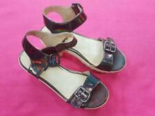 Women Top Shop Block Heel Buckle Ladies Sandals Platform Shoe Black Size UK 3